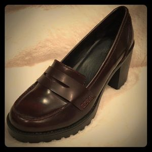 Stacked Heel Burgundy Loafers